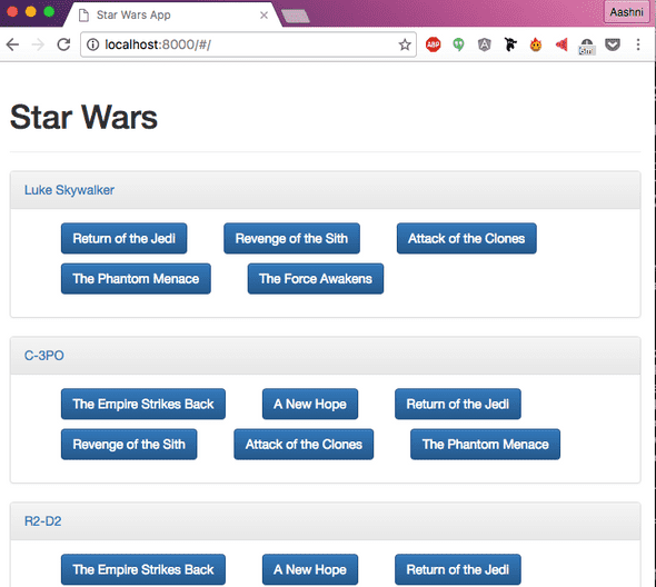 AngularJS Tutorial Final Website Displaying Star Wars Data Home Page